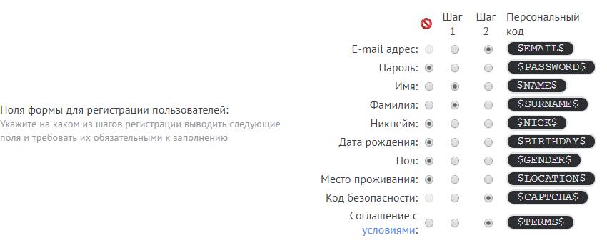 Настрйока формы регистрация uID-пользователей