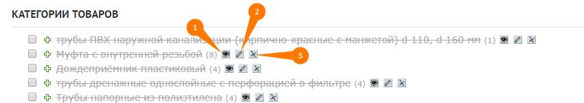Редактирование категории в интернет магазине